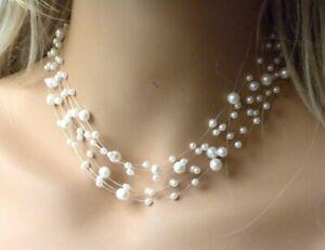 Pearl Illusion Choker Pendant Women Necklace Earrings New