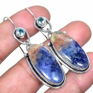 "Sodalite, Blue Topaz Gemstone Handmade Silver Jewelry Earring 2.2"" ERJ2968"