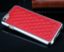 For iPhone 6 / 6S - RED Quilted PU Leather Chrome Metal Hard Skin Case Cover