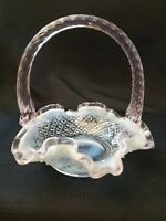 Fenton Glass Mini basket opalescent blue with White-  diamond Hobnail pattern