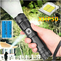Tactical Super-Bright 90000LM LED XHP50 Flashlight With Rechargeable Battery