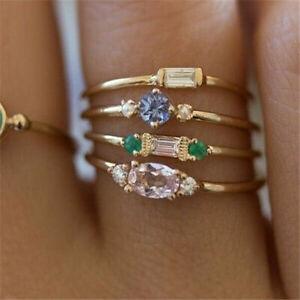 4pcs/set 925 Silver Rings for Women White Sapphire Wedding Jewelry Gift Sz 5-10
