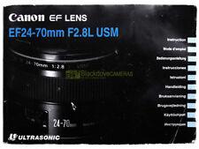 Manuale originale cartaceo per Canon EF 24/70mm. f2,8 L IS USM. ITALIANO.