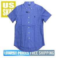 Polo Ralph Lauren Men's NWT Classic Cotton SS Button Down Shirt Check Blue A