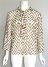 ST. JOHN Silk Chiffon Blouse Novelty Print Tie Neck 10 Mocha Brown Tan
