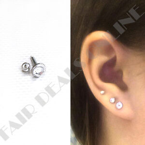Set of 3 Sizes Clear Set Labret Steel Silver Studs Helix Ball End Earrings