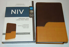 Niv Holy Bible, Large Print, Brown Leather-Soft Cover, New International Version