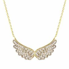 Solid 14k Gold Angel Wing Pendant Necklace with Cubic Zirconia Angel Wing Charm
