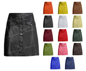 Luxury Genuine Leather Lady Button Up Mini Skirt with Front Two Pockets #S5