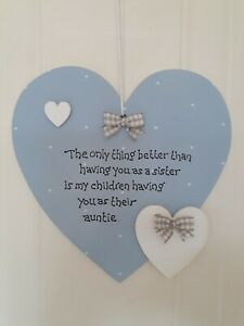 SISTER AUNTIE PERSONALISED HANGING HEART SIGN PLAQUE