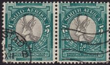 SOUTH AFRICA 1/2d Springbok bilingual pair P15c14 - USED 2 creased perfs @E3291