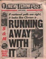 New York Post October 19 1992 Bill Clinton vs George Bush Election 020320AME