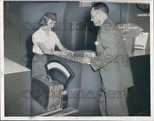 1954 Airport Stewardess Weighs Luggage Vintage Triner Scale 1950s Press Photo