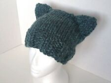 Handmade Womens Turquoise Chunky Cat Beanie Hat Pussyhat Wool Blend One Size