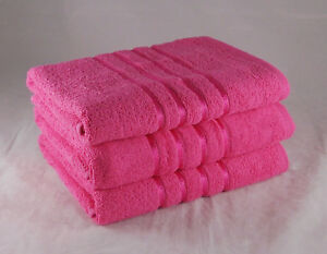 Hot Pink Striped Hand Towels 100% Cotton 550gsm Pack Set of 6