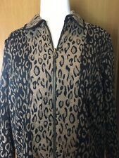 XL Zip Up 2 Tone Jacket Black Tan Animal Print.