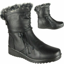Womens Ankle Boots Ladies Winter Fur Lining Low Heel Warm Snow Flat Shoes Size