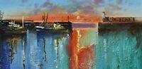 Richard Blowey Original Oil Painting - Newlyn Harbour Cornwall - Cornish Art
