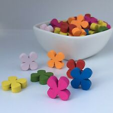 30X Floral Wooden Beads 15mm Multi Colour Mixed Flower Wood Bead Macrame Craft