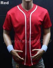 Men's Baseball Jersey Raglan T Shirt Button Mesh Sports Fashion Hip Hop Jacket