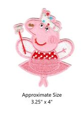Peppa Pig Fairy Embroidered Iron and/or Sew On Patch