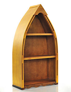 "Small Row Boat Shaped Canoe Bookcase Bookshelf 34"" Cedar Wood Nautical Decor New"