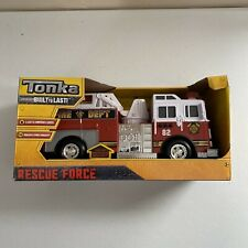 Tonka Real Tough Rescue Force Red Plastic Fire Truck Lights Sounds Ladder NEW