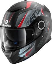 NEW SHARK Helm Spartan Karken schwarz matt rot S 55/56 Motorradhelm Sonnenblende