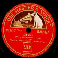 JASCHA HEIFETZ -VIOLIN- Alt Wien / Guitarre Op. 45 No. 2  Schellackplatte   S042