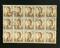 Hong Kong Stamps. SC 212. Block of 15. 1962. Used. **COMBINED SHIPPING**