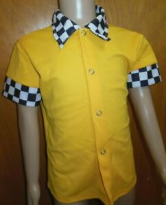 Dance Costume 50'S STYLE SNAP FRONT SHIRT CHECKER COLLAR green or flag gold
