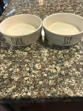 NEW Set Of 2 Magenta Rae Dunn Cat Food Bowls LL SIP PURR