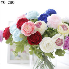 Silk Roses Artificial Peony Fake Flowers White Bridal Wedding Bouquet Home Decor