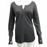 Women's Thermal Henley Top in Slate Grey- Large