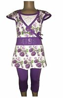 New Girls Tunic/Floral Dress/Top&Leggings 2 Piece Set /Summer Outfit 2-12ys #221