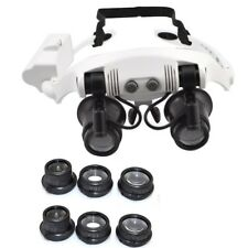 Upgraded 10X 15X 20X 25X LED Double Eye Watch Repair Magnifier Glasses Loupe AU