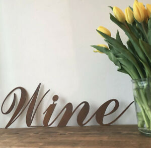 Rusty WINE Lettering Letters Sign Metal Shop Front Home bar Pub Man Cave Cafe