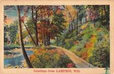 Lampson Wisconsin Greetings From country river road linen antique pc Z47193