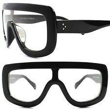 Designer Look Rich Famous Hip Hop Style Oversized Wrap Black Clear Lens Glasses