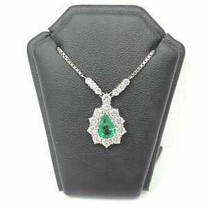 Emerald Diamond Necklace Green 18ct White Gold 16 Inch Chain Pear Shape Round