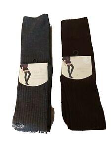 """FLIRT Women Girls School Ribbed Over Knee Socks Dark Grey, Brown Length 25"""""""