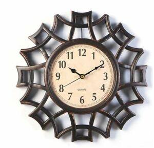 Decorative Wall Clock Round Small Geometric Frame Gold Silver Ornamental Clocks