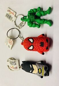 Superhero Key-rings: Spiderman, Batman & Hulk