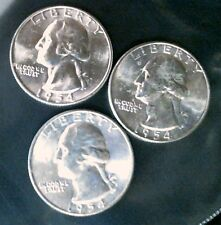 3 - 1954 D Washington Quarters Uncirculated From Mint Tube
