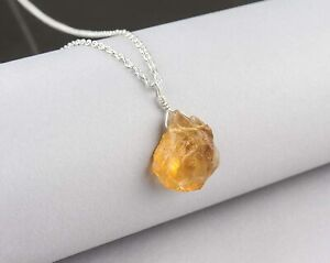 Natural Raw Citrine Necklace 925 Sterling Silver Healing Gemstone Women Gift -AM