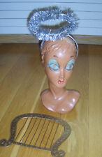 Angel Set Kit Silver Tinsel Halo Small Plastic Harp Fancy Dress Accessory Used