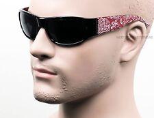 BAN Red Black Paisley Bandana Sunglasses Super Dark Lenses OG LOC