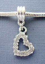 Pendant Dangle Crystal  HEART Large hole bead Fits European Charm Bracelet C4