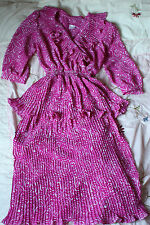 Beautiful Vintage 80s knife pleated ruffle front peplum dress UK 8 Magenta Pink