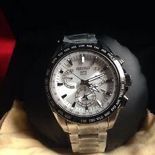 New Seiko Astron Solar GPS Dual-Time Titanium Men's Watch SSE047